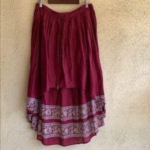 Free People hi-low bohemian cotton skirt